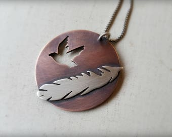 Of a Feather Pendant - Copper and Sterling Silver Bird and Feather Necklace