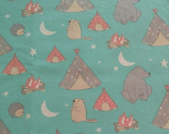 Baby Toddler Fitted Sheet bears beaver campsite teepee on teal blue