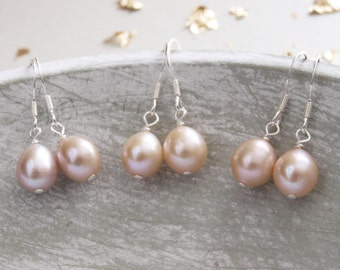 Pink Pearl Earrings Set for Bridesmaids Gifts
