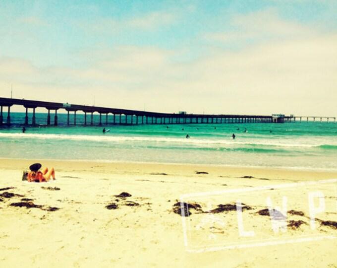 Beach House Decor, Watching the Surfers, California Coast, Pier, Beach Summer 8x12 Print IN STOCK