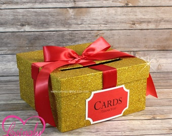 Card Box Glitter Yellow Gold & Red Gift Money Box for Any Event | Baby Shower | Wedding | Bridal Shower | Birthday Party | Graduation
