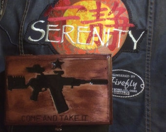 "Hand-carved ""Come and Take It"" w/  Vera. Upcycled Cigar Box"