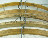 Reserved for ROMI 6 Vtg wooden advertising clothes hangers