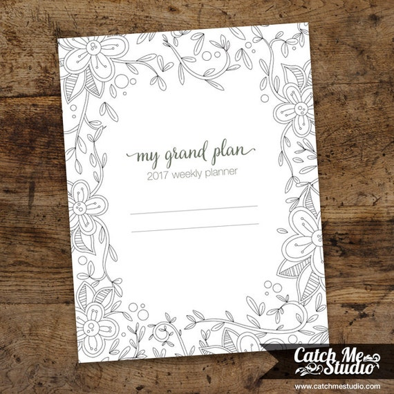2017 planner printable coloring pages daily planner weekly Coloring book planner