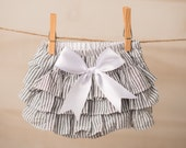 Baby Girl Bloomer-Christmas Bloomer-Vintage baby-pinstripe bloomer white stripe bloomer-stripe ruffle diaper cover-