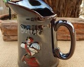 Lusterware Butter Pitcher  ~  Redware Luster Butter Pitcher  ~  3/4 Cup Butter Pitcher with Rooster  ~  3/4 Cup Pitcher with Rooster