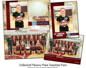 VOLLEYBALL PACK B - Sports Memory Mate Photo Templates - Digital Files Only