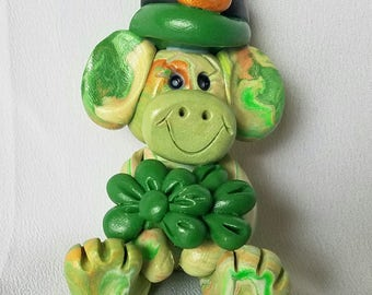 St. Patricks monkey , polymer clay, Irish monkey, leprechaun, st. Pattys day gift,