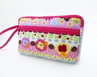 Floral zipper pouch, Wristlet wallet, Cosmetic bag, Cell phone bag, iPhone wallet case, Cotton zipper clutch, Flower clutch, Pink clutch
