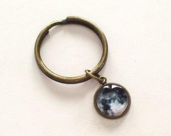 Moon Keychain, Moon Surface Keychain, Night Sky Key Chain, Astronomy Keychain, Moon Charm Key Holder, Antiqued Brass Key Chain