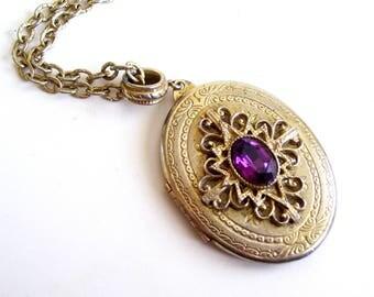 Whiting Davis Locket, Gold Amethyst Locket, Vintage Art Deco Locket, Keepsake Locket, Photo Locket, Vintage Oval Locket Pendant Necklace