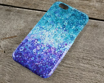 Touch the Sky iPhone Case - Blue & Turquoise Unique Abstract Circle Art iPhone Case for iP4, iP5/S/SE, iP5C, iP6/S, iP6+/S, iPod Touch 5