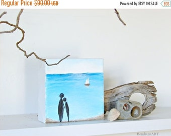 CLEARANCE SALE Beach Decor, Ocean Painting with 3D Sailboat--A Couple in Love, Holding Hands on the Shoreline, Beach Wedding Gift