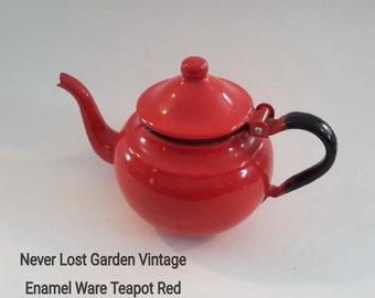 Tea Pot Enamel Ware Red Vintage