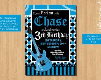 rockstar invite rock star invitation boy rocker guitar teen boy invitation teenager invite boy Music birthday party rock n roll invite Blue