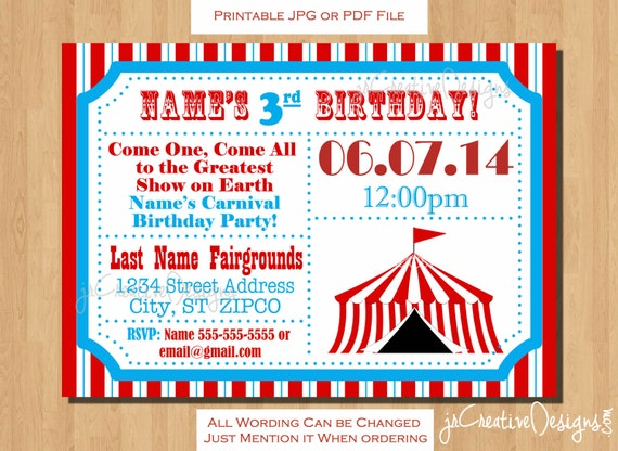 circus themed party circus birthday invitation ticket, Birthday invitations