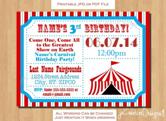 Circus Themed Party Circus Birthday Invitation Ticket - Birthday invitation cards circus