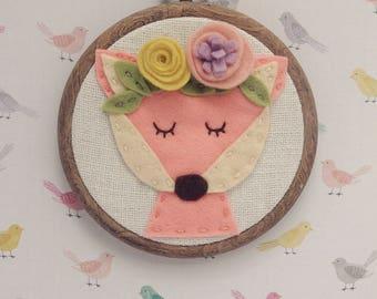 Fox with Flower Crown Embroidery Hoop Art Boho Nursery Decor Woodland Animal Flexi Hoop