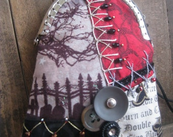 Front Window Purse Handmade OOAK Crazy Quilt Hand Embroidered Victorian Goth Party Purse Gnarly Tree Grave Stones Spider Web Starry Sky