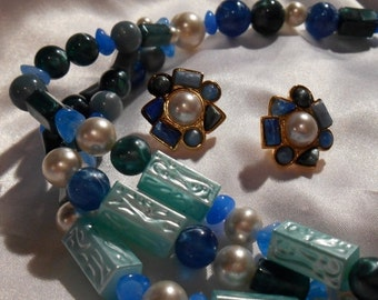 50% OFF SALE Avon South of France bead necklace and clip earring set