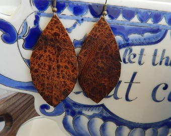 Small Distressed Leather Feather Earrings