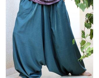 Wide leg Tall Harem Pants with side pockets - Green Aquamarine Afghani pants - Drop Crotch Pants for Men - Regular - Plus size - Custom made