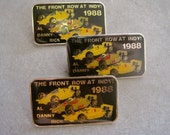INDY 500 Pins 1988 The Front Row at Indy Al Unser Sr Danny Sullivan Rick Mears Black Enamel Rectangle CHOICE of 1 New Old Stock