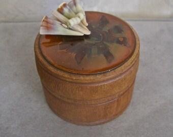Trinket Box Vintage Wood Copper Enamel Shell Round Small Ring Box Stash Holder 50s Mid Century Folk Art Boho Beach Decor