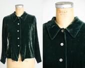 90s Sage Green Velvet Button Down Minimalist Blouse