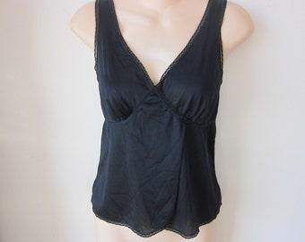 SALE Vintage slip camisole cami black nylon sexy lingerie 36 bust M