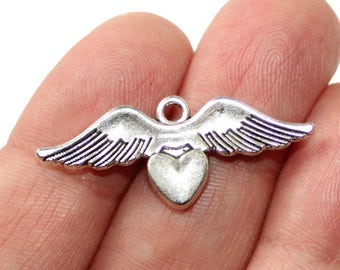 2 Winged Heart Charms Antique Silver Tone 2 sided - CH758