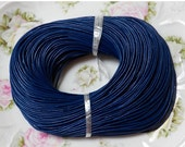 20% off 2mm Navy Blue Round Cowhide Genuine Leather Cord, 5 Yards (INDOC41)