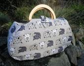 Wooden handled  bag. Sheep fabric project bag.