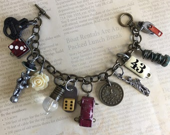Industrial Chic Metal Urban Mixed Media Altered Art Steampunk Red Car Dice Penny Charm Bracelet Jewelry