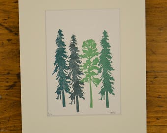 Four tree prints