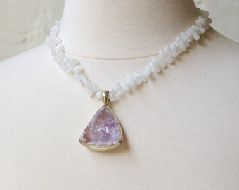 Druzy-Pale Lavender with Moonstone -Beaded Choker-Sterling Silver Pendant-Necklace