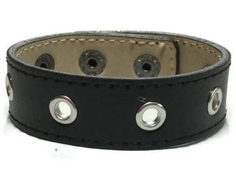 Studded Black Leather Cuff - Round Eyelet Studded Black Leather Cuff Bracelet - Leather Bracelet - Studded Black Leather Bracelet Cuff