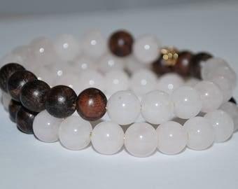 Rose Quartz Memory Wire Bracelet, Rose Quartz Bracelet, Meditation Bracelet, Wood Bead Bracelet, Healing Stone Bracelet, Unisex Bracelet