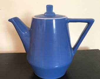 Hall China Individual Teapot Blue Deco Style