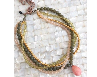 Statement Necklace, Multi Strand Necklace Army Green Coral Gold