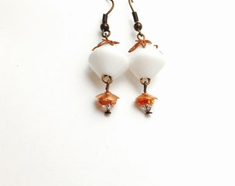 White Bead Earrings, Copper Flower, Antique Design, Vintage Inspired, Clearance Sale, Item No. B621
