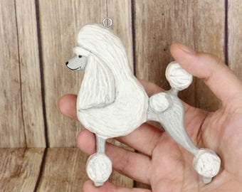 White Poodle Ornament, Standard Poodle Home Decor, Poodle figurine, Poodle Door Hanger, Poodle Decoration, Poodle House warming gift