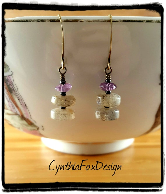 Delicate Labradorite and AmethystWheels Earrings, Purple and Mossy Golden Stones, Foxxy Jewelry by Cynthia Fox Design
