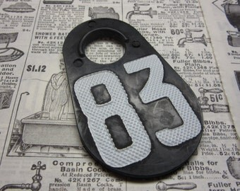 Vintage Cattle Tag Number 83 Tag Large Soft Rubber Plastic Livestock Bull Tag 1983 Year Black & White Industrial Tag Numbers Keychain Tag