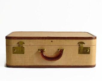 vintage classic tan tweed suitcase luggage 1940s 1950s travel