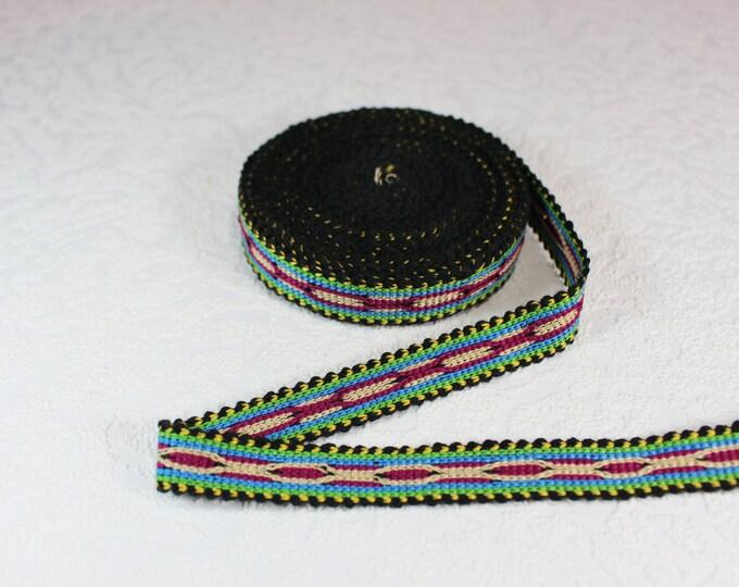 Woven Trim (6 yards), Woven Border, Cotton Ribbon, Grosgrain Ribbon, Dress Border, Border Trim, R157