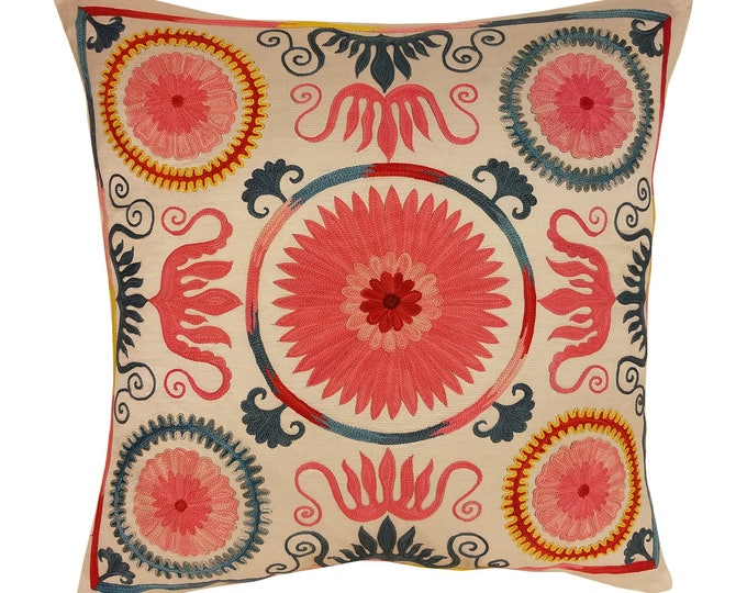 Hand Embroidered Suzani Pillow Cover msp800, Suzani Pillow, Suzani Throw, Boho Pillow, Suzani, Decorative pillows, Accent pillows