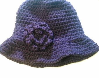 Dark Purple Cloche Hat - Ready to Ship