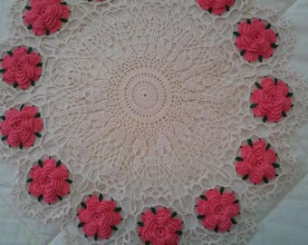 Candy Pink American Beauty Rose doily, centerpiece, tablecloth