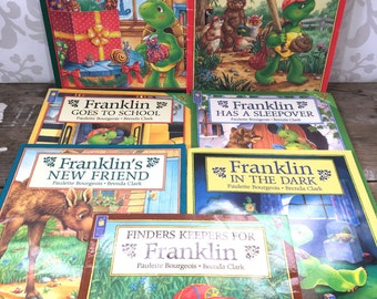 Franklin the Turtle book lot of 7, 1990's, kids books, children's book, soft cover, animal